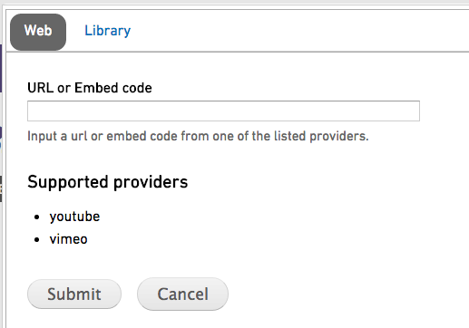 Embed video dialogue box