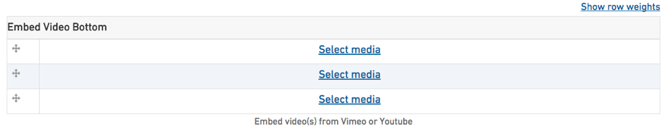 Form field for embedding multiple videos