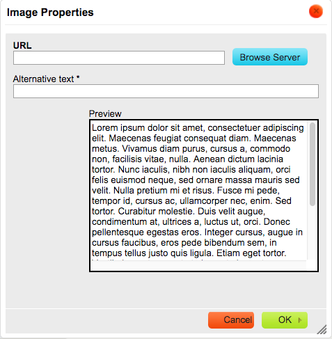 Image properties dialogue box