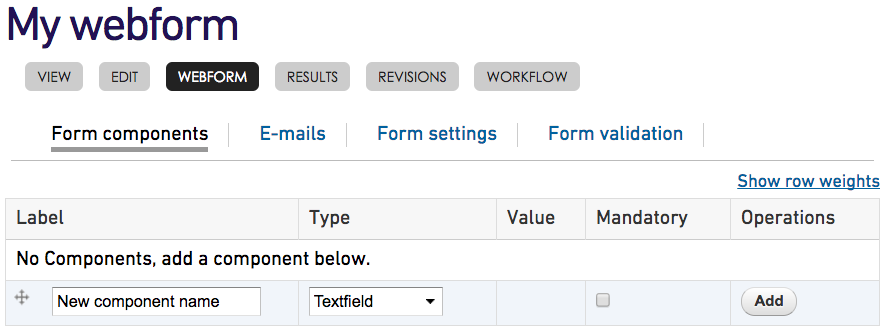 Webform add components screen