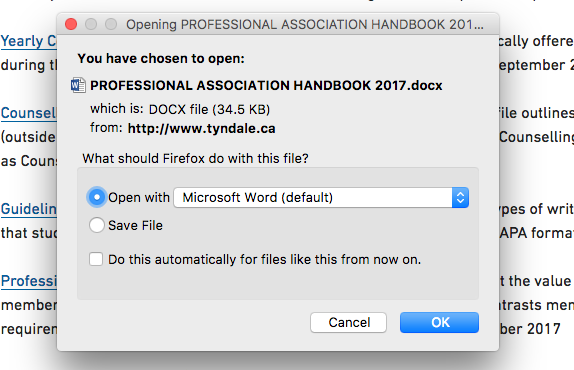 Dialogue box to open or save Word document after clicking link
